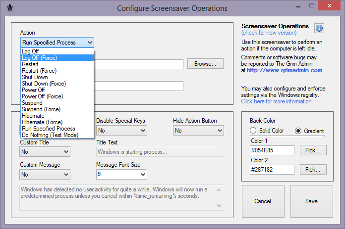 Screensaver Operations - Automatically Log Off, Shut Down